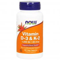 Now Foods Vitamin D-3 & K-2 1000IU/45mcg 120 капс